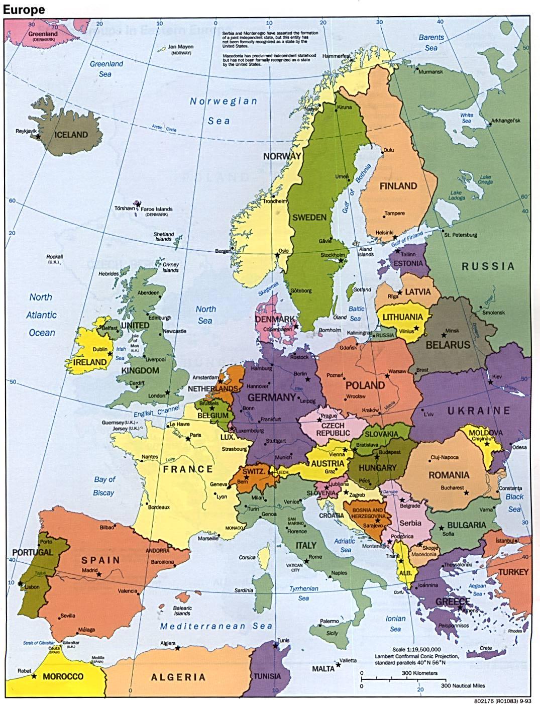 Mapy Europy Mapa Europy W Jezyku Angielskim Polityczna