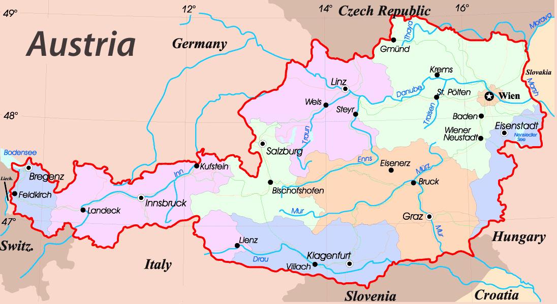 Mapy Austrii Szczegolowa Mapa Austrii W Jezyku Angielskim Mapa