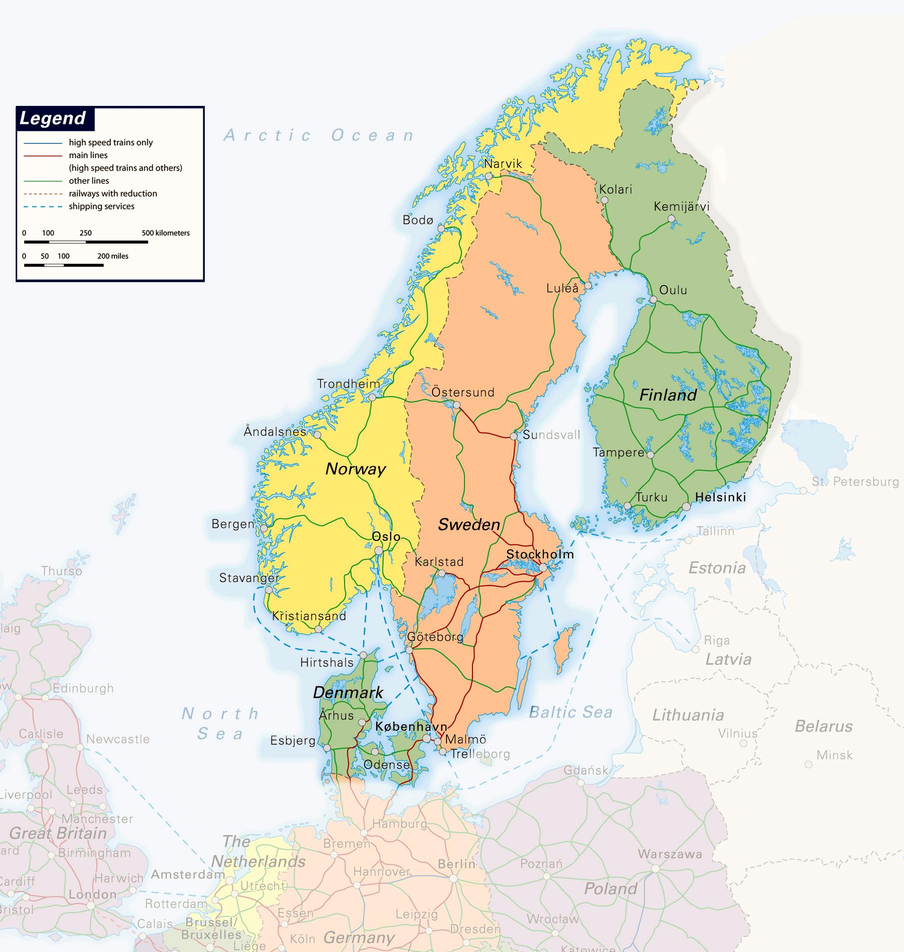 Mapy Baltyku I Skandynawii Szczegolowe Polityczne Reliefowe
