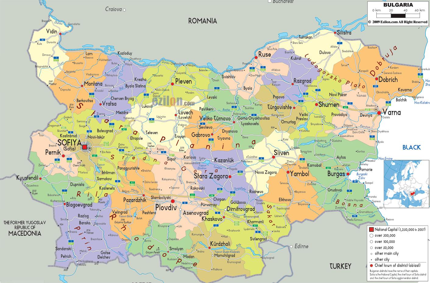 Mapy Bulgarii Szczegolowa Mapa Bulgarii W Jezyku Angielskim