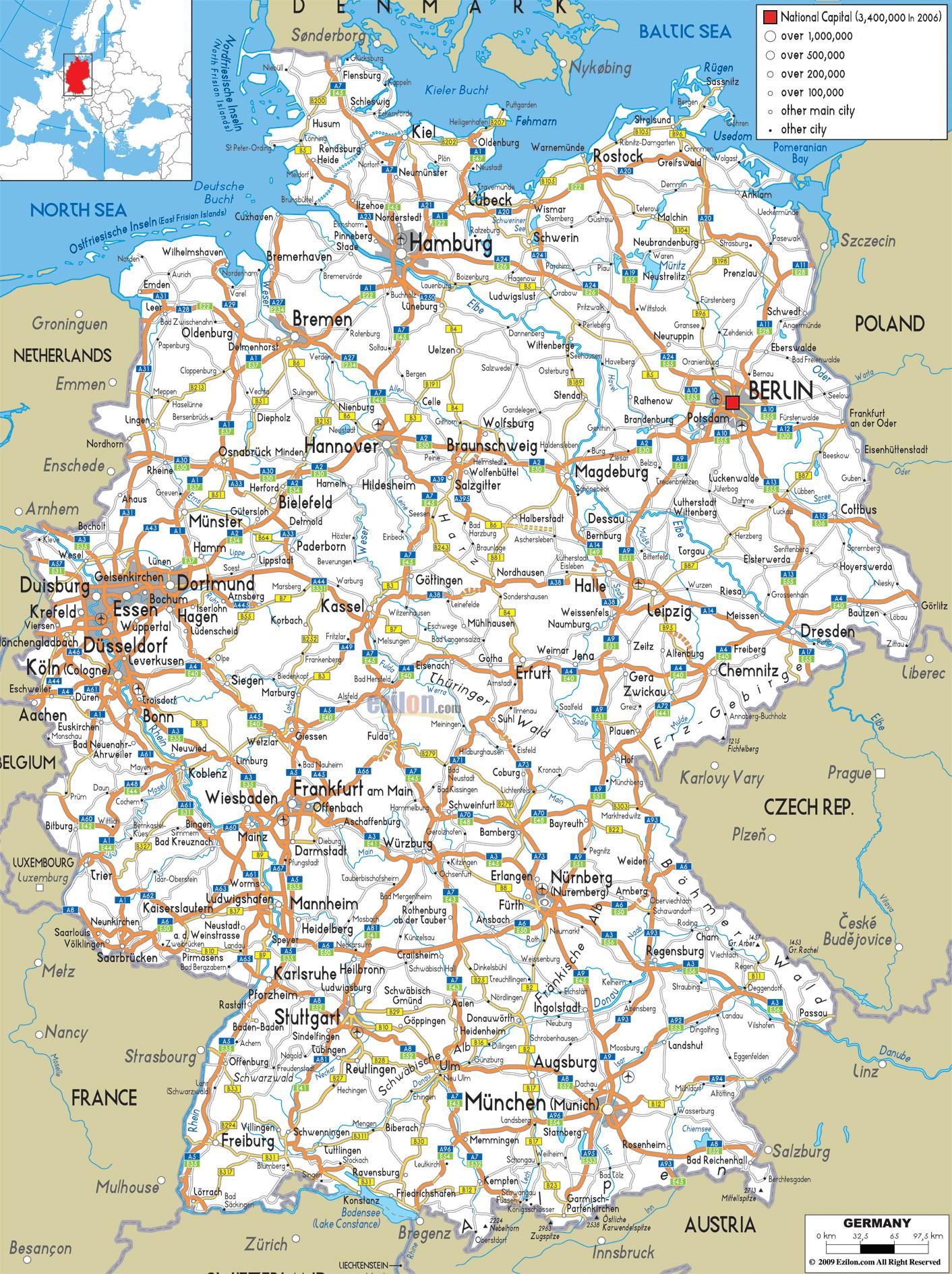 Mapy Niemiec Szczegolowa Mapa Niemiec W Jezyku Angielskim Mapa