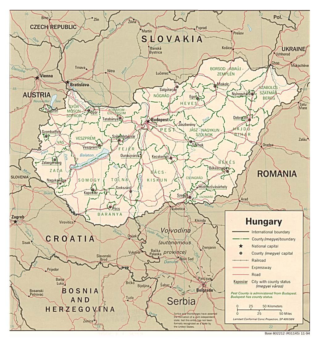 Mapy Wegier Szczegolowa Mapa Wegier W Jezyku Angielskim Mapa