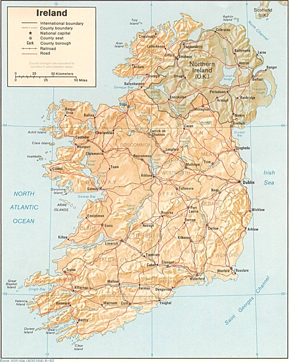 Mapy Irlandii Szczegolowa Mapa Irlandii W Jezyku Angielskim