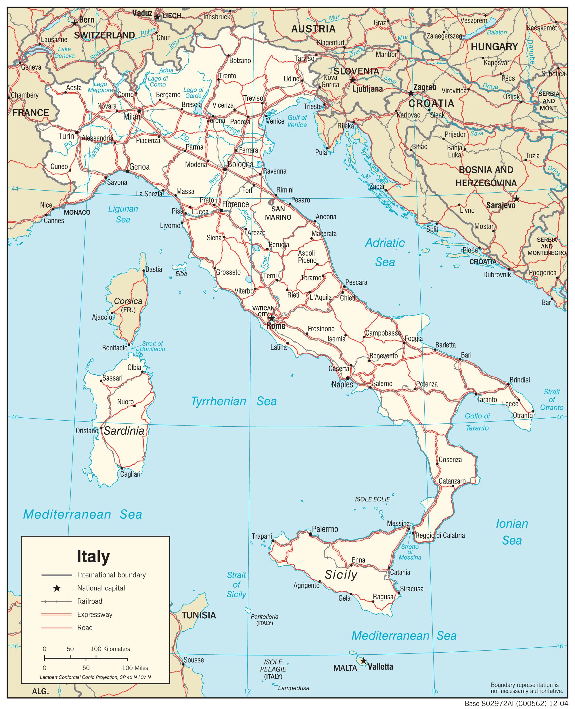 Mapy Wloch Szczegolowa Mapa Wloch W Jezyku Angielskim Mapa
