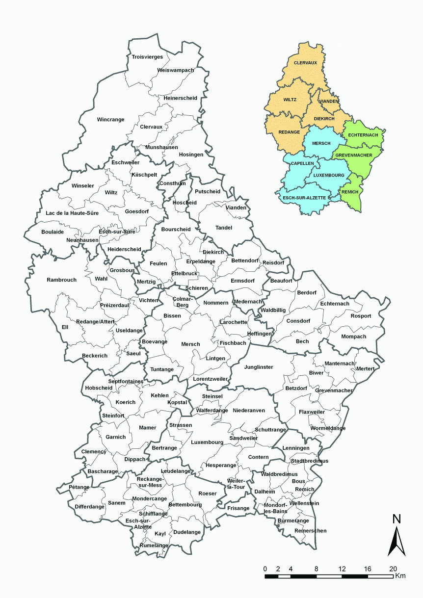 Mapy Luksemburga Szczegolowa Mapa Luksemburga W Jezyku