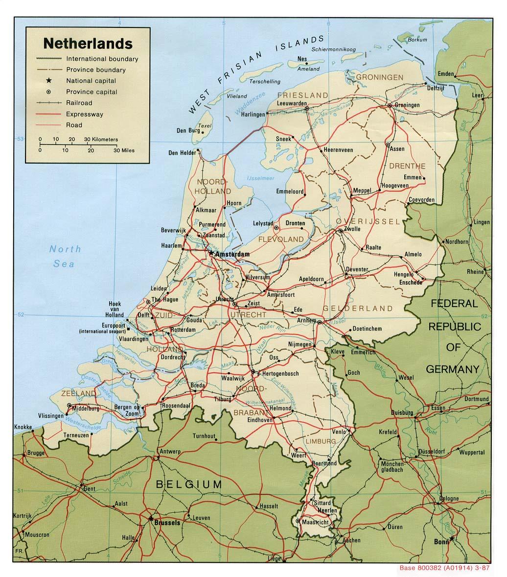 Mapy Holandii Szczegolowa Mapa Holandii W Jezyku Angielskim