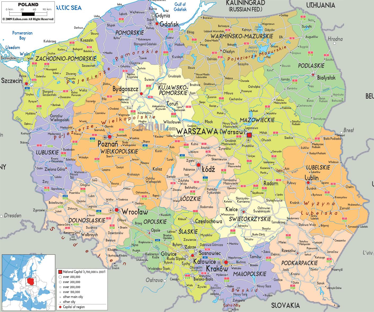 Mapy Polski Szczegolowa Mapa Polski W Jezyku Angielskim Mapa