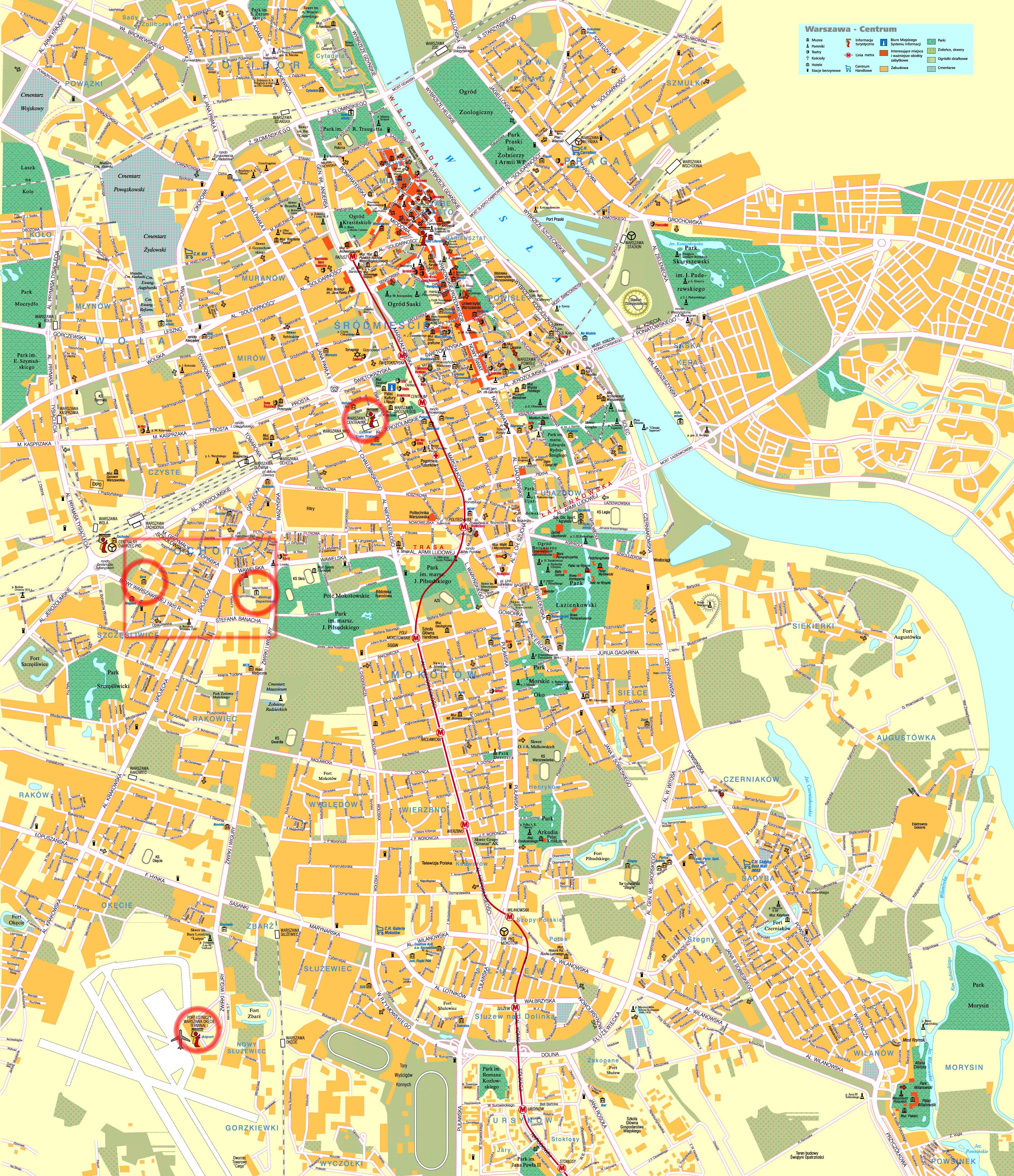 Mapy Warszawy Szczegolowa Mapa Warszawy W Jezyku Angielskim