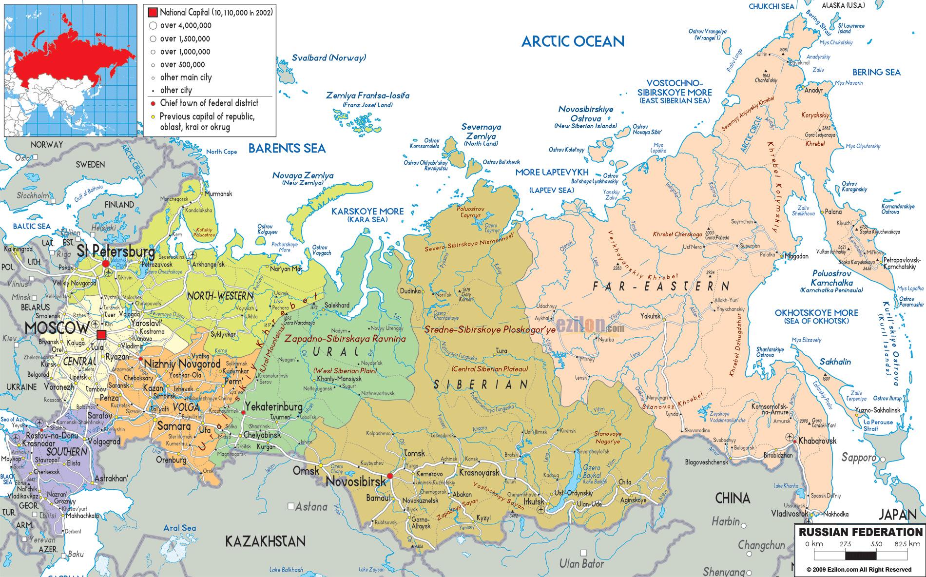Mapy Rosji Szczegolowa Mapa Rosji Z Miastami I Regionami Mapa