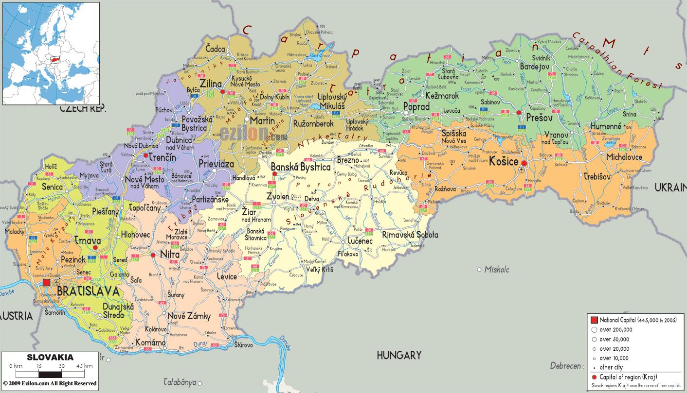 Mapy Slowacji Szczegolowa Mapa Slowacji W Jezyku Angielskim