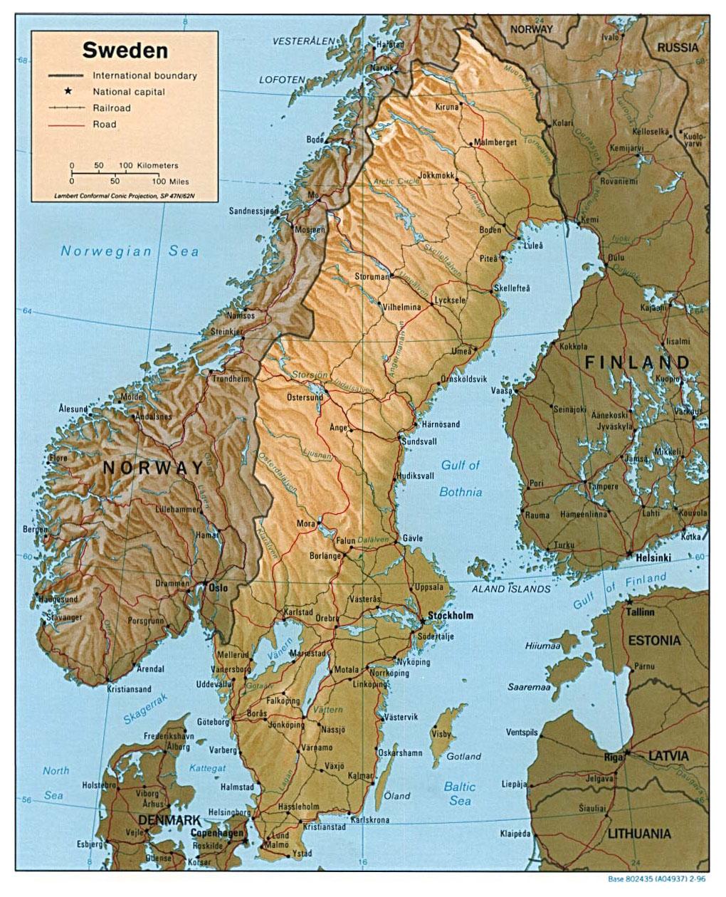 Mapy Szwecji Szczegolowa Mapa Szwecji W Jezyku Angielskim Mapa