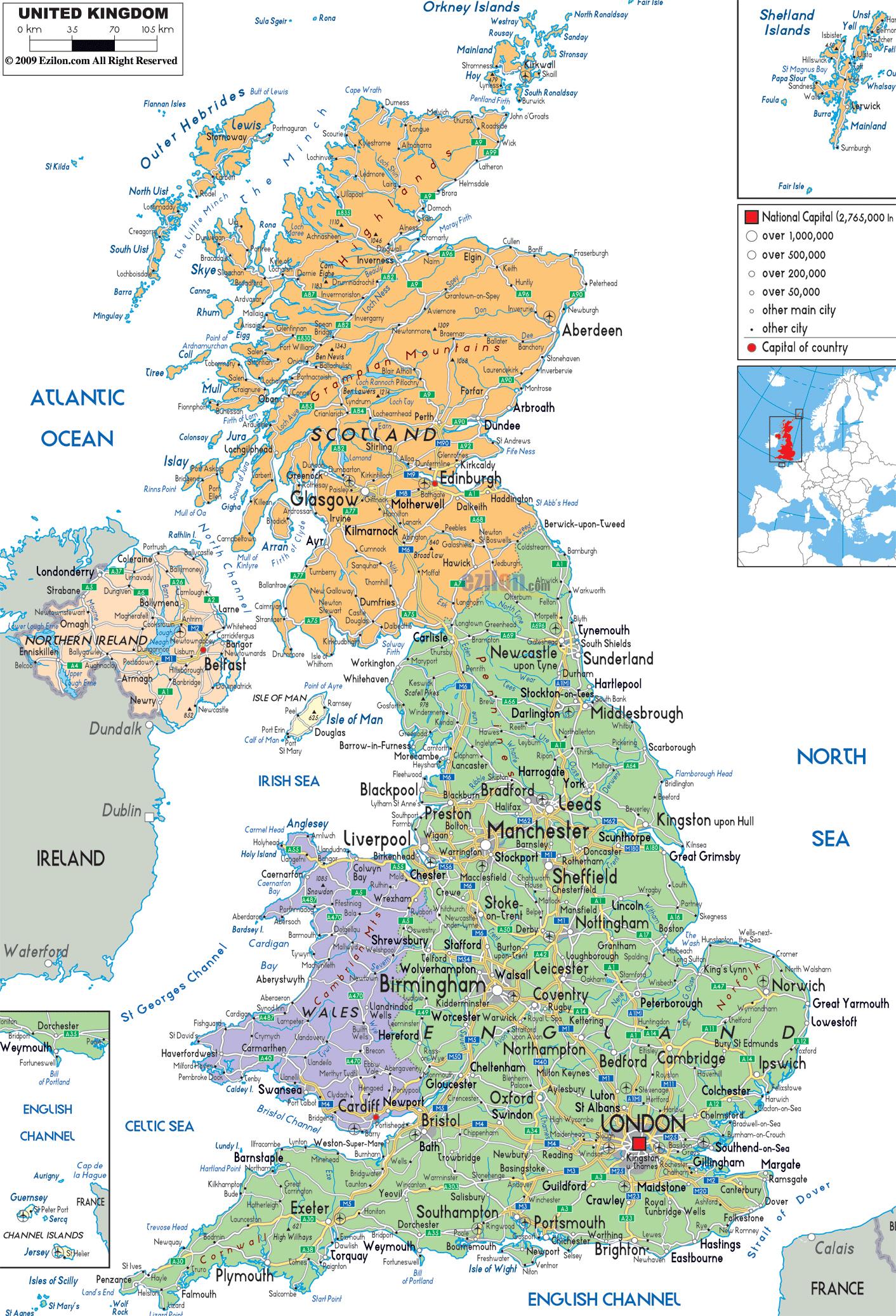 Mapy Wielkiej Brytanii Szczegolowa Mapa Wielkiej Brytanii W