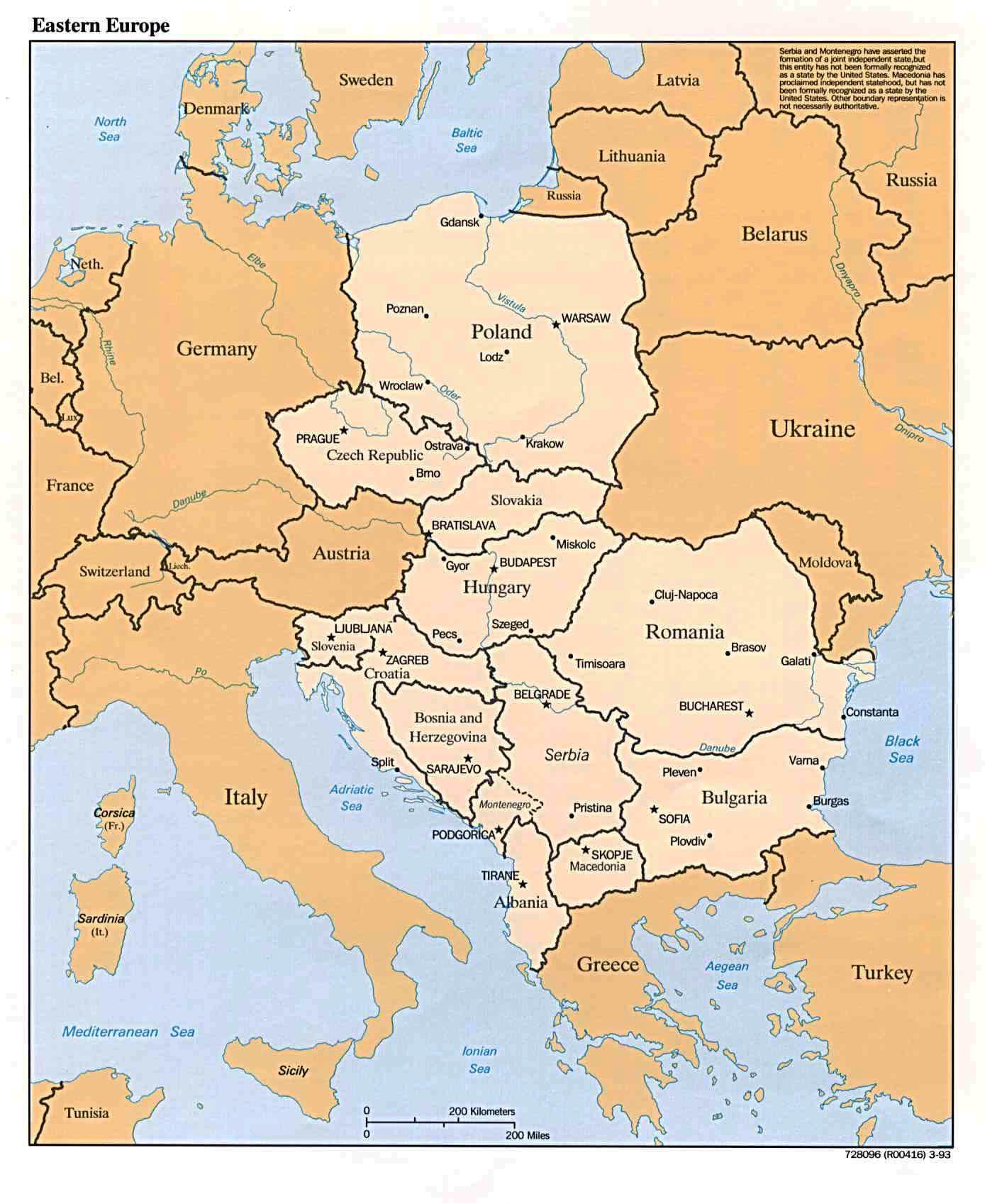Inne Mapy Europy Mapy Europy Centralnej Europy Wschodniej